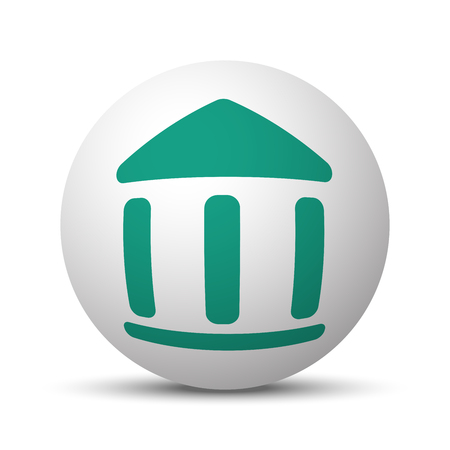 juridical: Green Museum icon on white sphere