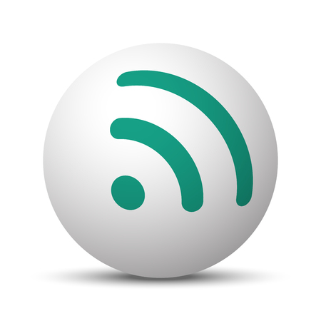 Green Rss icon on white sphere