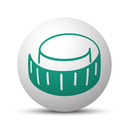 cintas metricas: Icono verde cinta de medición en la esfera blanca Vectores