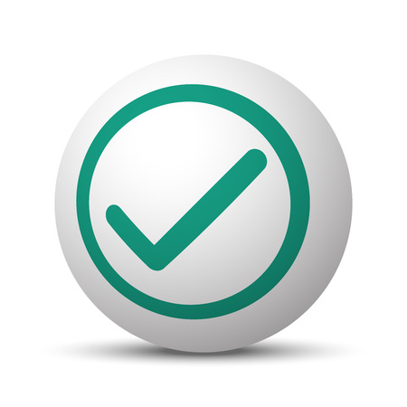 confirm: Green Confirm icon on white sphere Illustration