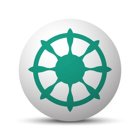 Green Boat Wheel icon on white sphere
