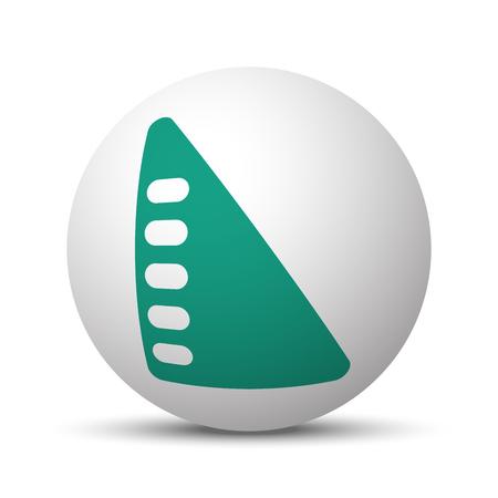 millimeters: Green Set Square icon on white sphere Illustration