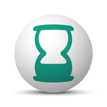 Green Hourglass icon on white sphere