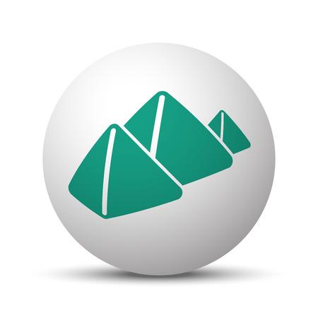 Green Pyramids icon on white sphere