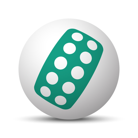 Green Tablet Strip icon on white sphere