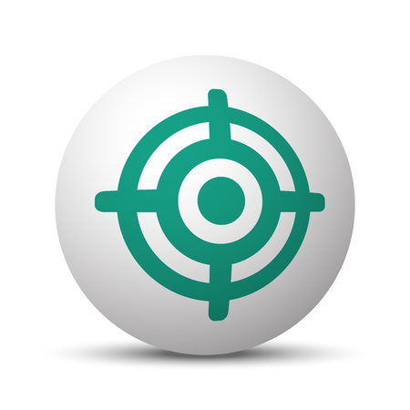 Green Target icon on white sphere