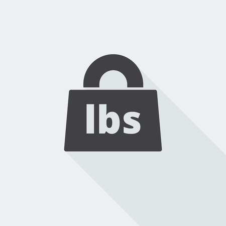Black flat Weight Pounds icon with long shadow on white background Illustration