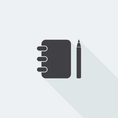 memo pad: Black flat Note Book icon with long shadow on white background Illustration