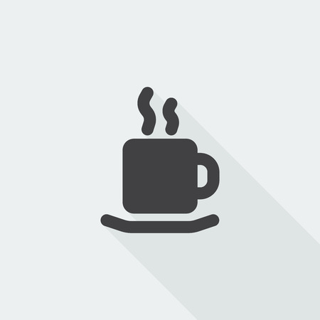 long drink: Black flat Coffee icon with long shadow on white background