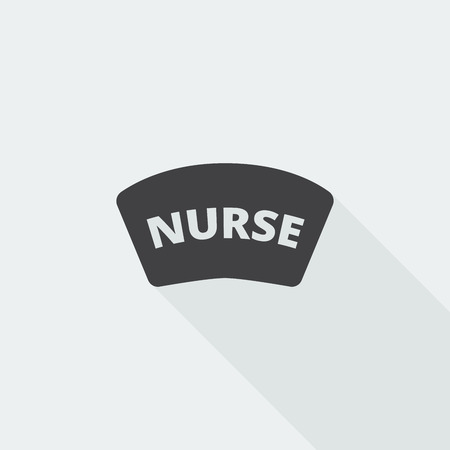 nursing uniforms: Black flat Nurse icon with long shadow on white background Illustration