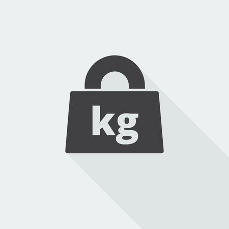 Black flat Weight Kilograms icon with long shadow on white background