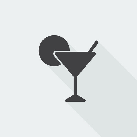 Black flat Cocktail icon with long shadow on white background