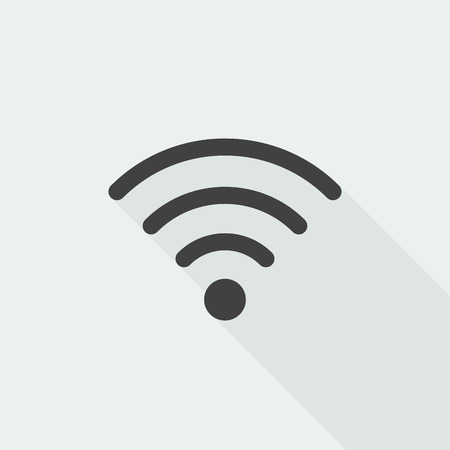 hotspot: Black flat Wireless icon with long shadow on white background