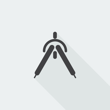 drafting: Black flat Drafting Compass icon with long shadow on white background