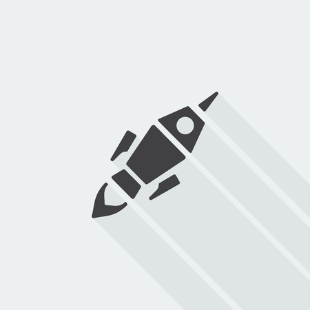 beginnings: Black flat Rocket Launch icon with long shadow on white background Illustration