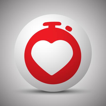 electrocardiograma: Icono de monitor de ritmo cardíaco rojo en esfera blanca