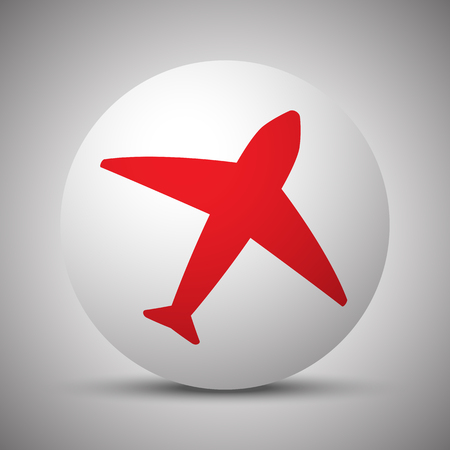 Red Airplane icon on white sphere