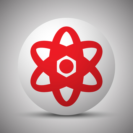 Red Nuclear icon on white sphere