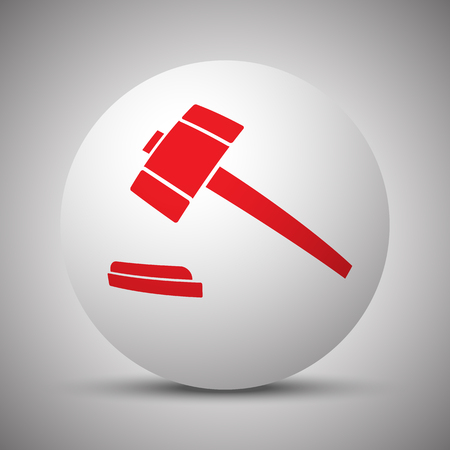 Red Law Gavel icon on white sphere Illustration
