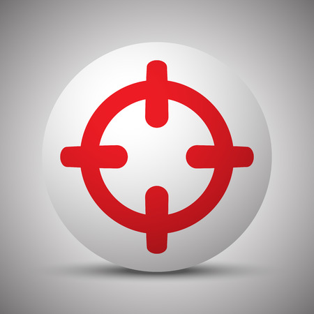 Red Scope icon on white sphere Illustration