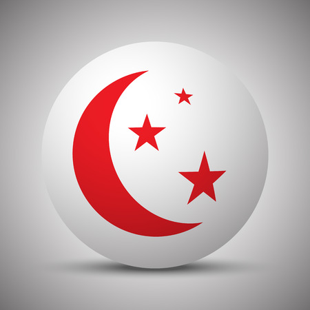 Red Moon And Stars icon on white sphere