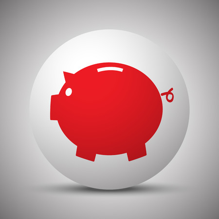 loaning: Red Piggy Bank icon on white sphere