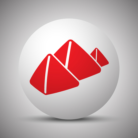 Red Pyramids icon on white sphere
