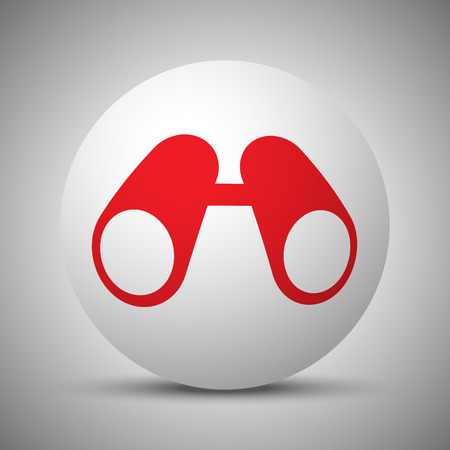 military watch: Red Binoculars icon on white sphere