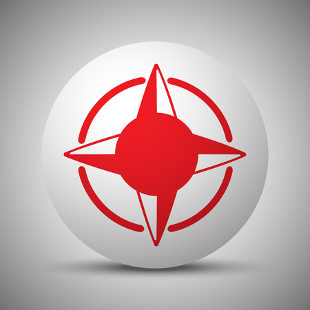 red rose: Red Compass Rose icon on white sphere Illustration