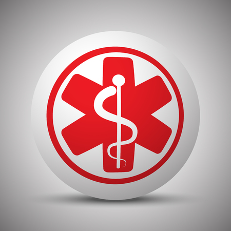 Red Medical  icon on white sphere Illustration