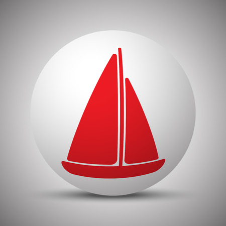 Red Sailboat icon on white sphere