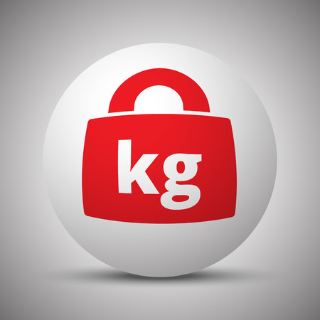 Red Weight Kilograms icon on white sphere Illustration