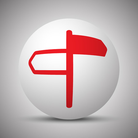Red Road Signs icon on white sphere Illustration