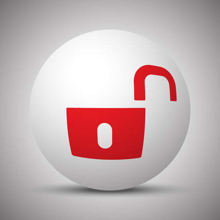 unsafe: Red Unlock icon on white sphere Illustration