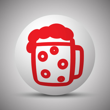 Red Beer icon on white sphere
