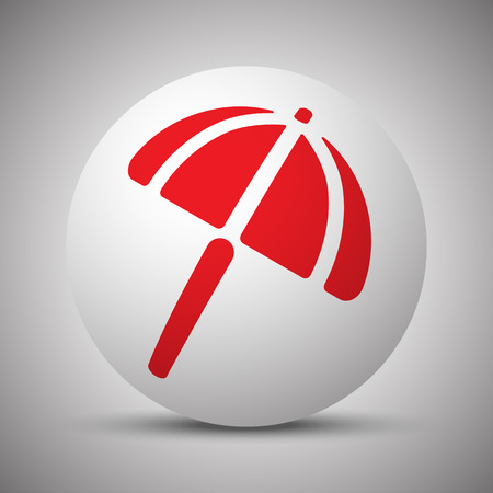 sunshade: Red Parasol icon on white sphere Illustration