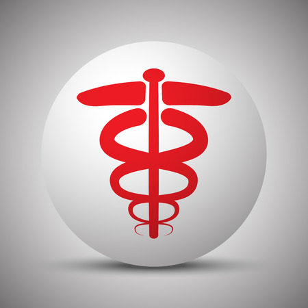 Red Medical Symbol icon on white sphere