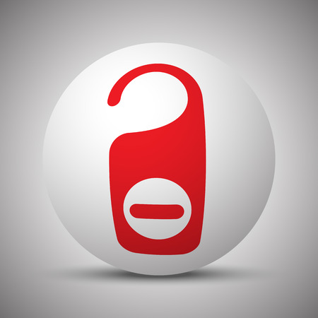 Red Hotel Hanger icon on white sphere