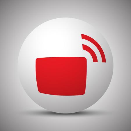 fm: Red Transmitter icon on white sphere