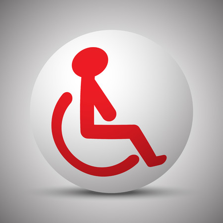 Red Wheel Chair icon on white sphere