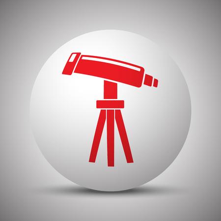 Red Telescope icon on white sphere