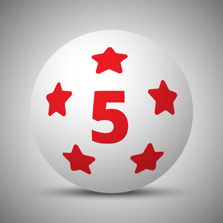 Red Five Star icon on white sphere