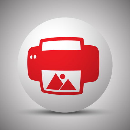 photo printer: Red Photo Printing icon on white sphere Illustration