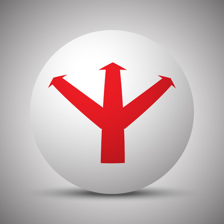 Red Strategy icon on white sphere