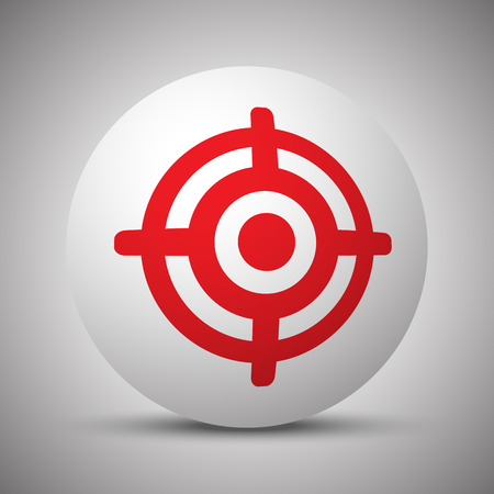 Red Target icon on white sphere