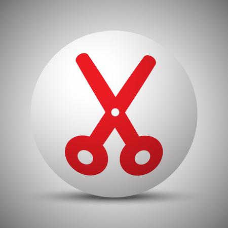 Red Scissors icon on white sphere Illustration