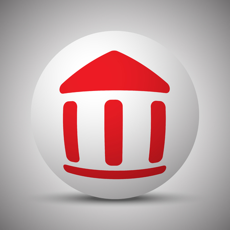 globe theatre: Red Museum icon on white sphere Illustration