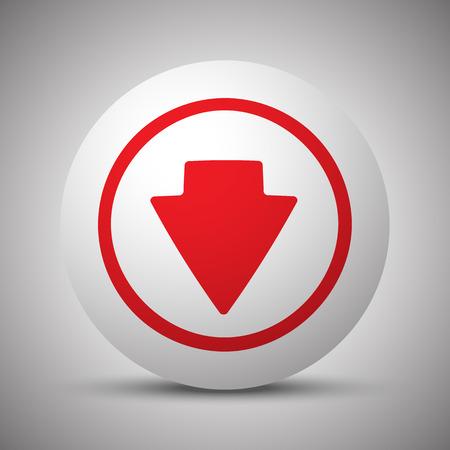 arrow down icon: Red Arrow Down icon on white sphere