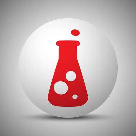 conical: Red Conical Flask icon on white sphere
