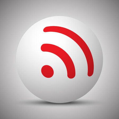 Red Rss icon on white sphere